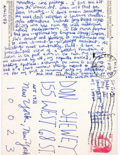 1987-8-12 postcard from yaddo